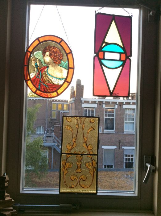 Three Beautiful Hand Stained Stained Glass Sun Catchers Cupido