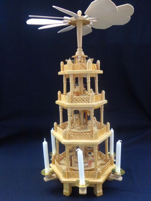 wooden christmas carousel candle holder handmade 54 cm high
