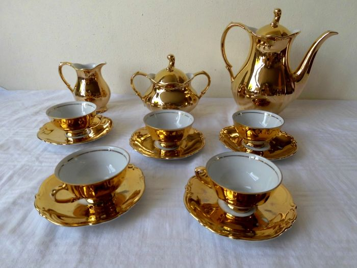 Tirschenreuth Bavaria - Gold plated mocha service for 5 persons