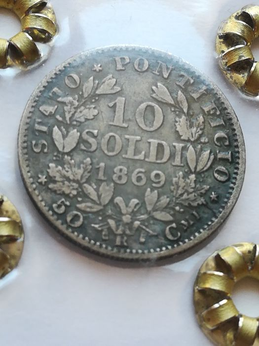 Italy, Papal State, 10 Soldi 1869R XIII Pio IX silver