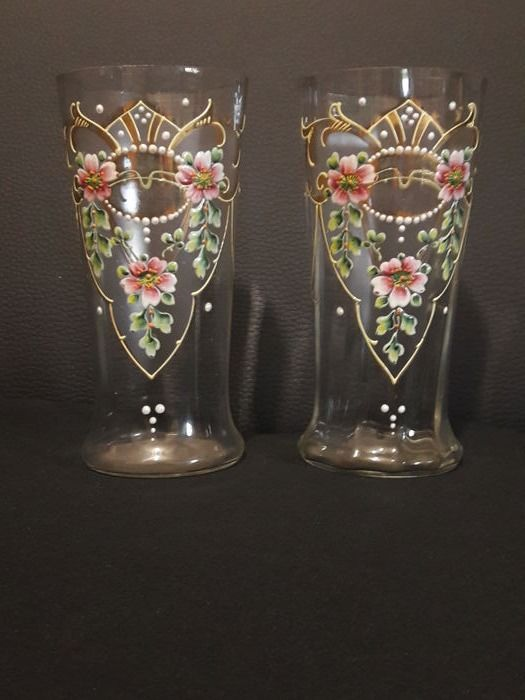 A pair of enameled vases, Bohemian, circa 1900