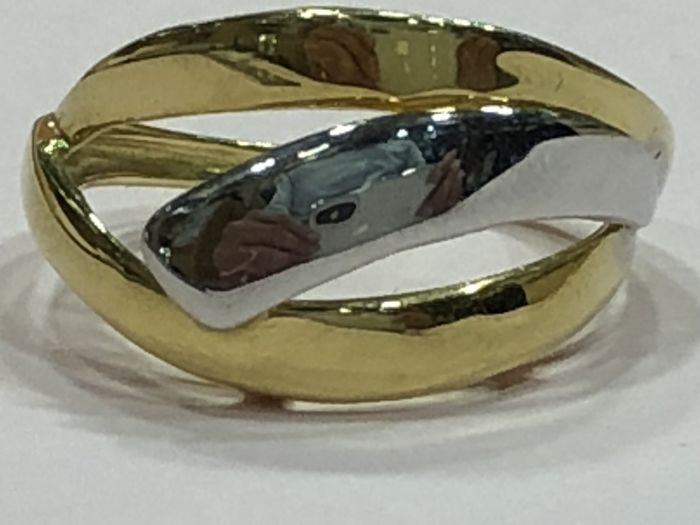 Cocktail ring bi-colour of gold of 18 kt  - Size 14 universal