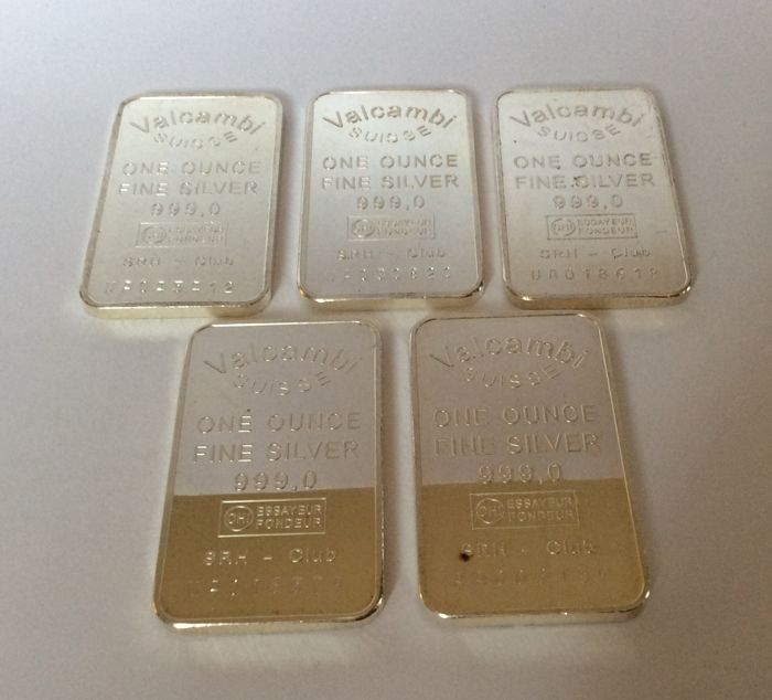 Valcambi Suisse - 5 x one ounce - 999/1000 - Minted silver bars - with serial numbers