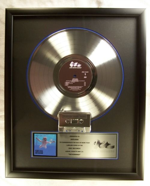 """Nirvana """"Nevermind"""" LP & Cassette Official In-House Award Platinum Record Award DGC Records"""