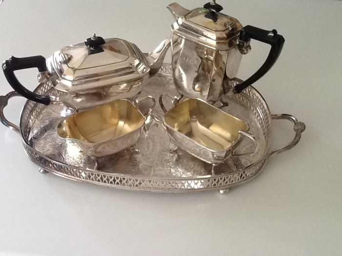 A 4 piece silver plate tea and coffee service on a galleried tray