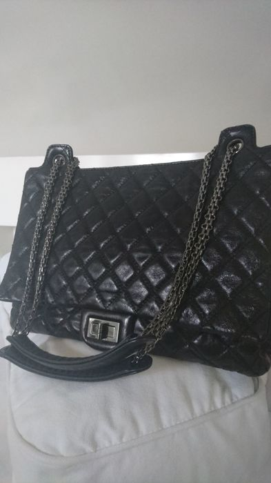 2f23e419d2030 Chanel - Leather Quilted XL Accordion Reissue Flap Metallic Blac Shoulder  bag