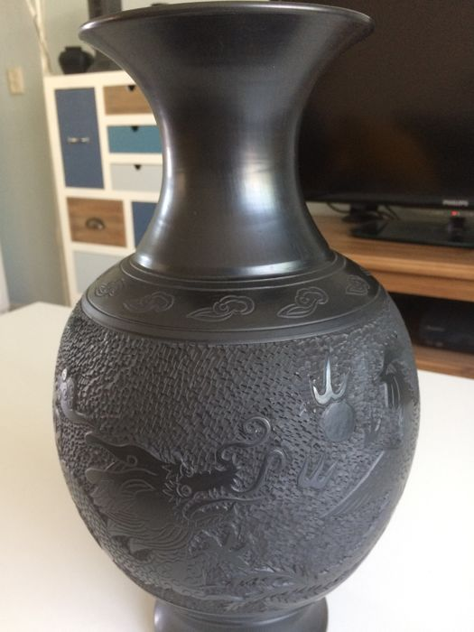 Chinese Dragon Vase In Black Clay China Late 20th Century Catawiki