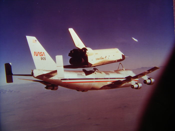 Piggyback shuttle Enterprise and NASA Boeing 747 - four original super slides from 1977