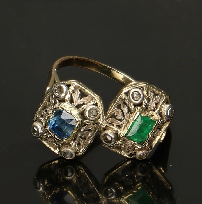 14 kt, Bi-colour gold ring with diamond, emerald and sapphire - Ring size 18 mm