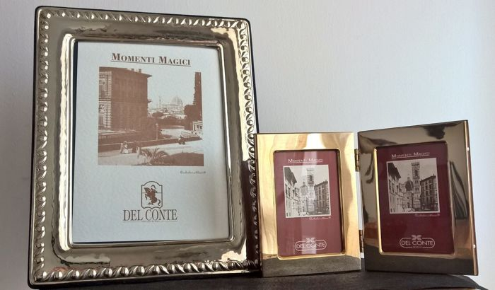 2x picture frames in silver 925 and walnut briar - by Italian silversmith Del Conte, Florence, early 21st century