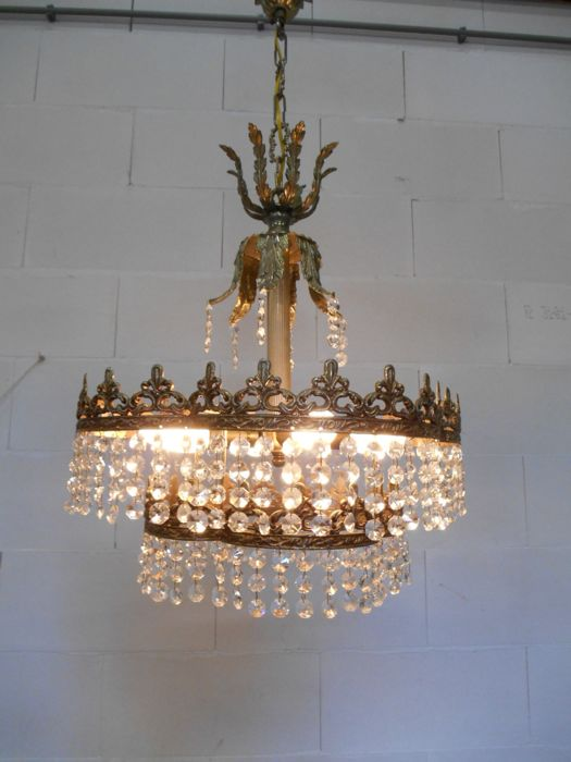 Crystal chandelier with copper mounting and fleur de lis and crystal chandelier with copper mounting and fleur de lis and acanthus leaf decor ca aloadofball Choice Image