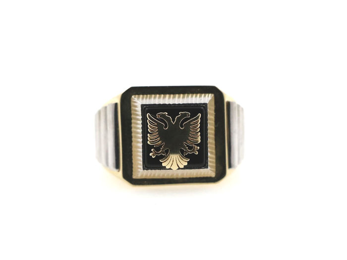 """14 kt yellow and white gold men's ring motif """"double eagle"""" with 2.5 ct onyx - ring size. 65 EU - free size adjustment"""