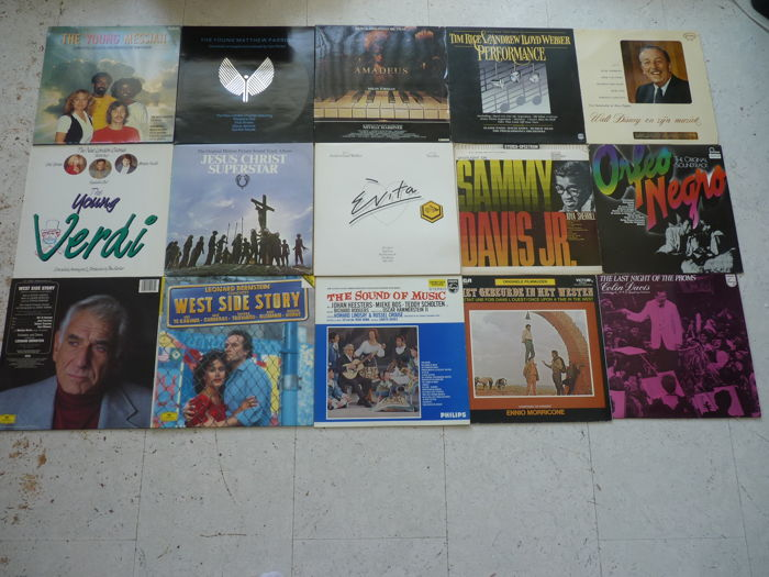 Big  lot with 14 varied albums of famous composers , many  Soundtracks and  Film music and musicals  are present in this lot.