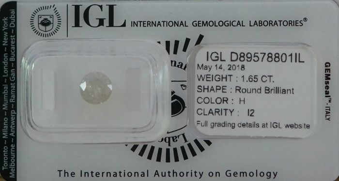 IGL 1.65ct H  I2 Natural Diamond - Round Brilliant 3 x VG ****Low Reserve Price****