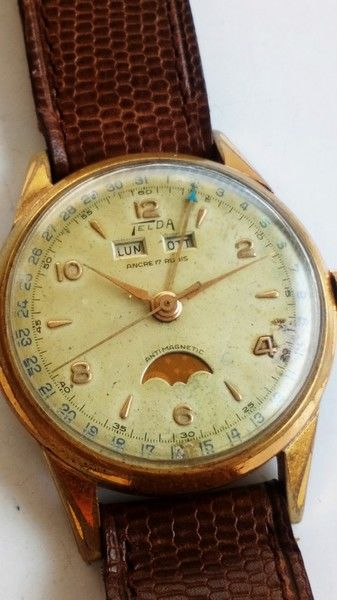 Telda - triple calendar moonphase watch - Unisex - 1950-1959