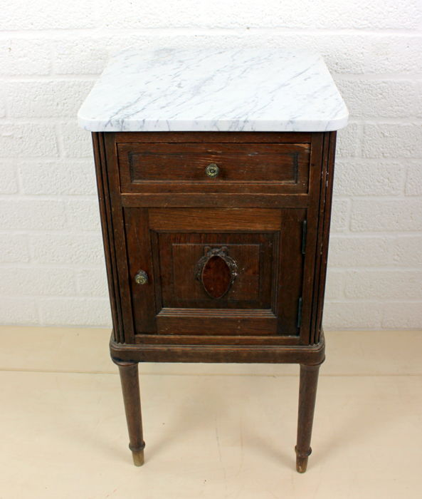 An oak bedside table with white marble top, France, 2nd half 1800