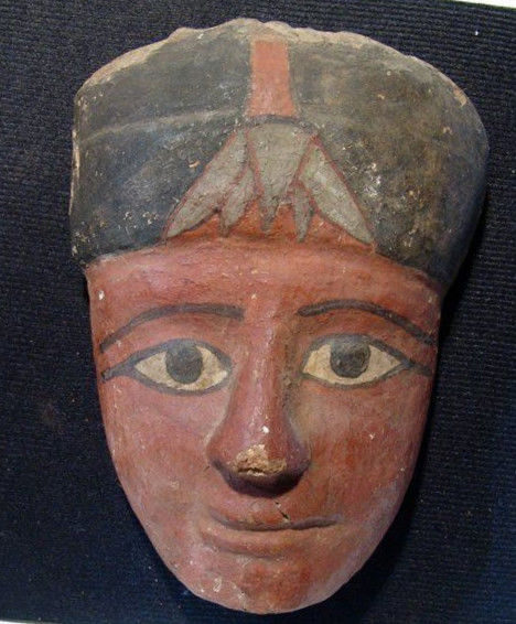 Oud-Egyptisch Hout Ancient Egyptian wooden mummy mask - 19.3