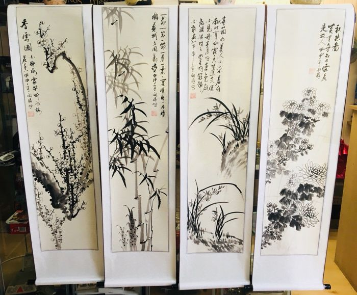 Large Chinese Four Season Hand Painted scrolls - China - late 20th century