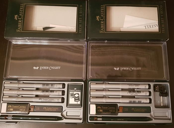 2 x Faber Castell Ecco tech set - drawing set for sale