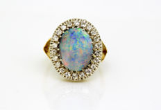 Art Deco 18k gold dome ring with black opal and diamonds, France Circa 1920's