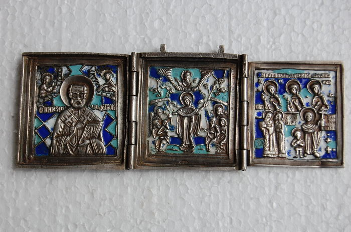 Russian silver icon with enamels. Triptych. 19 century.
