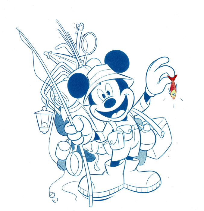 Mickey Mouse the Fisherman - Original Drawing - 50 x 35 cm - First edition