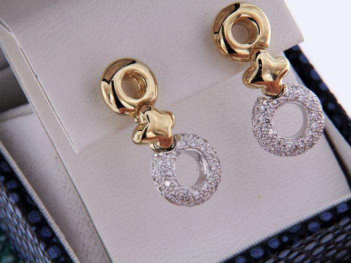 Earrings in 2 golds, yellow and white, and 0.45 ct of diamonds - height 22 mm