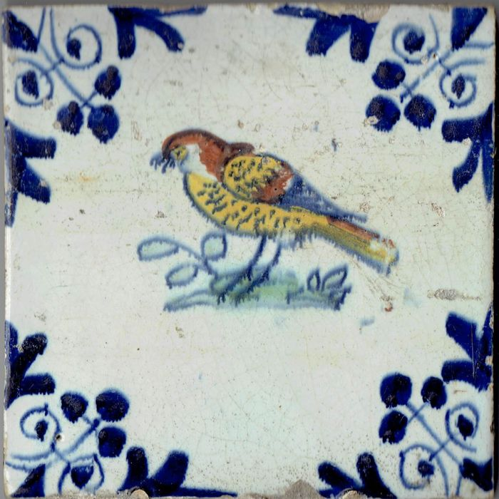 17th century tile with a bird