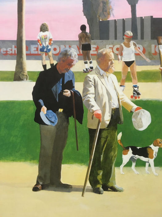 """Hockney/""""-1985 Poster Peter Blake-/""""The Meeting/"""" or /""""Have a Nice Day Mr"""