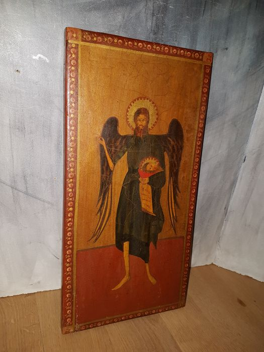 Greek icon with archangel Michael painted on wood - 20th century