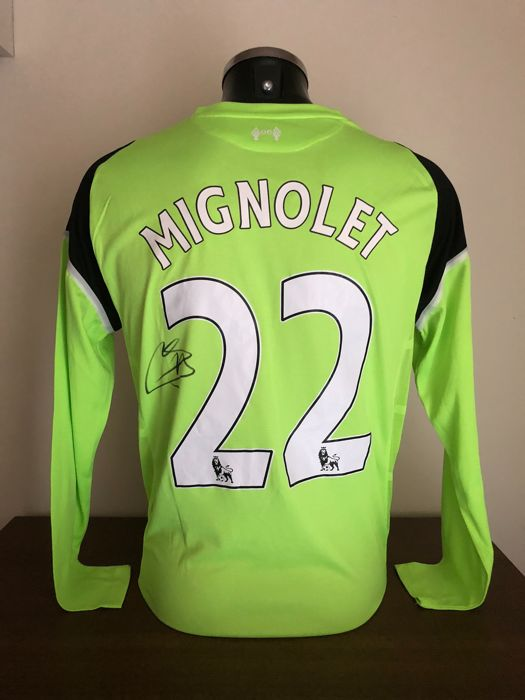 50ba01903ae Simon Mignolet signed Liverpool Fc goalkeeper shirt with photo of the  moment of signing and COA