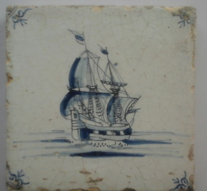 Antique tile with a tall ship of the VOC