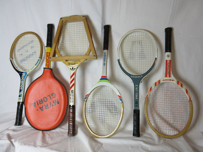 Collection of six vintage wooden tennis rackets: 2 Adidas (one with wooden tensioner), 1 Rucanor, 1 Advance pro-Jr2, 1 Ascott Minor and Vendex Junior with sleeve
