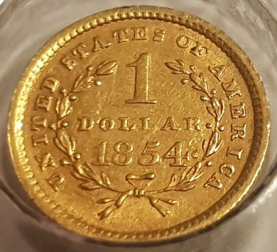États-Unis - 1 Dollar 1854 - Liberty Head  - Or