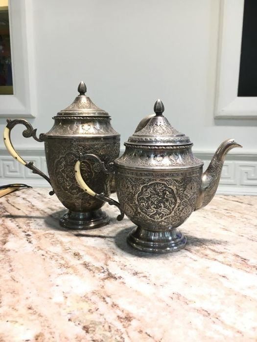 Antique Persian silver Tea and Coffee Set