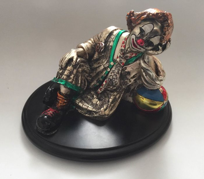 "Sculpture ""Il Clown Riflessivo"" signed A. Ripani - Italy - twentieth century"