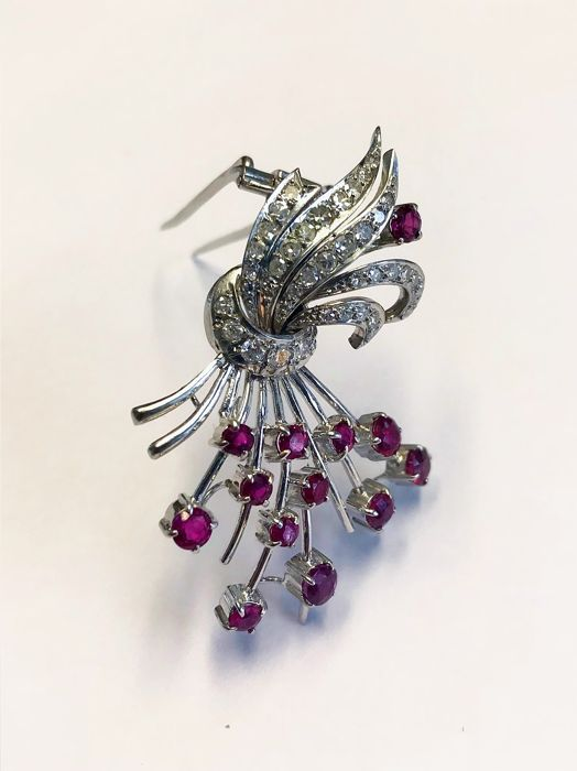 18ct White Gold Diamond & Ruby Brooch
