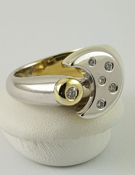 14 quilates Bicolor, Oro, Oro blanco - Anillo - 0.12 ct Diamante