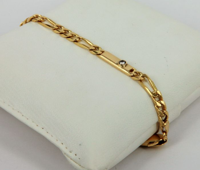 Bracelet with 0.08 ct diamond, GH/VS, made in Italy, in 18 kt (750/1000) yellow gold, with three groumette links and one figaro link - weight: 14.6 g - length: 20.7 cm