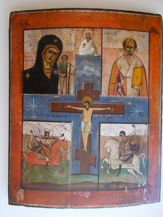 Crucifixtion of Christ with Mother of God of Kazan, St Nicholas, Archangel Michael and St George - Wooden icon - 19th century - Russia