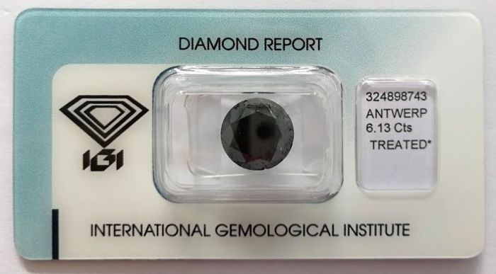 Natural Black Diamond 6.13 CT with IGI certificate***No minimum price***