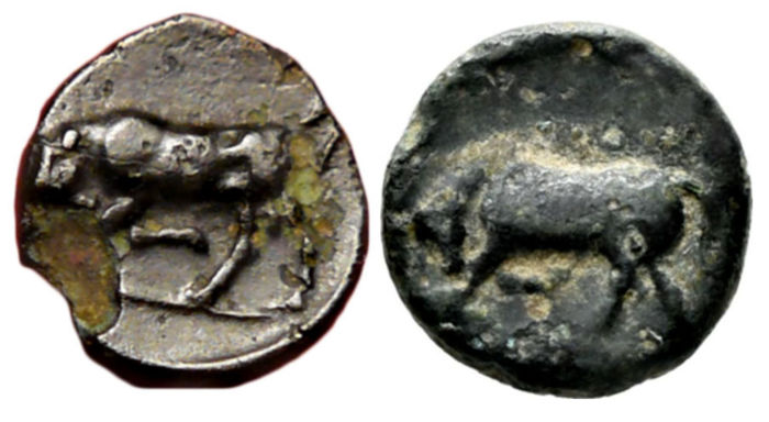 Griekenland (oud) - Mysia, Gambrion. Lot of 2 AE coins, 350-250 BC
