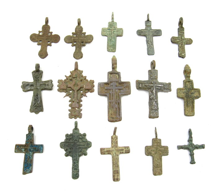 Medieval to Post-Medieval Brons Crosses - 2.6-5.4cm - (15)