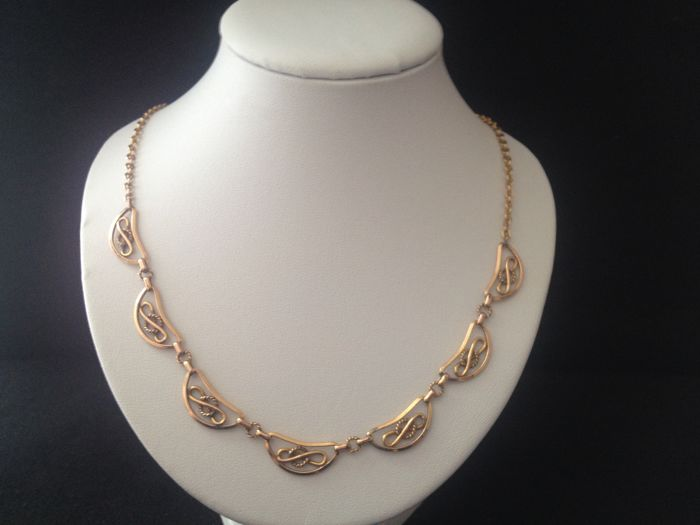 18 kt gold necklace for women - 46 cm
