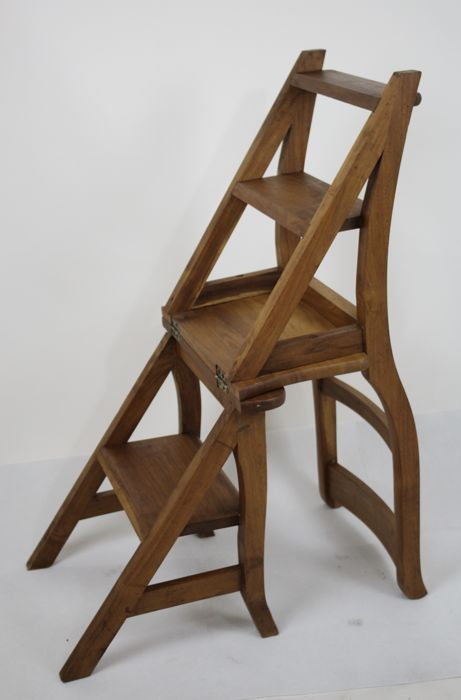 Wooden Library Chair/ladder, Second Half Of 20th Century   Double Function