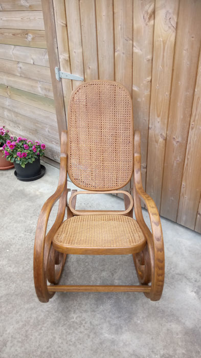 After Thonet   Rocking Chair With Webbing Upholstery