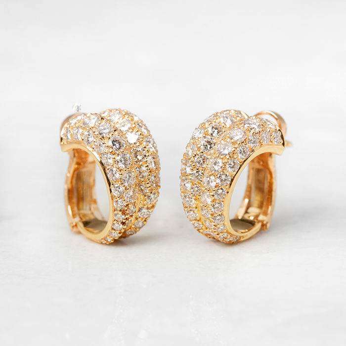 Cartier -  18K yellow gold double hoop diamond earrings - no reserve price