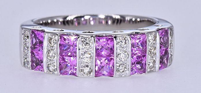 1.76 Ct Pink Sapphires with Diamonds band ring *NO RESERVE price!