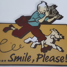 "Kuifje, Tintin - Geëmailleerde plaat Color Star Benelux - ... Smile, Please! - ""ne peut etre vendu"" - (1992)"
