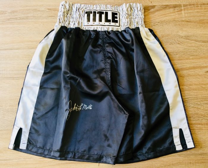 Jake LaMotta - Authentic & Original Autograph in a Black Boxing Trunks - with Certificate of Authenticity